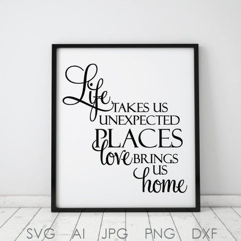 Life Love Home Digital Artwork Quote Vector, SVG Saying to Print, Vector Clipart Quote Design, Love Quote Printable Home Decor, Card Design - lasting-expressions-vinyl