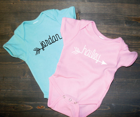 Name Baby Shirt Custom Arrow, Infant Bodysuit Newborn One Piece, Baby Shower Gift, Infant Photography, Newborn Photo Shoot Outfit Baby Shirt - lasting-expressions-vinyl