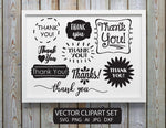 Thank You Sticker Printable Clipart Set, DIY Prints for Business, Thank You SVG Quote Design, Printable Stickers, Vector Clipart Sayings - lasting-expressions-vinyl