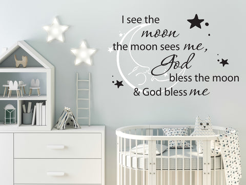 Nursery Decor Vinyl Wall Decal Quote, Moon God Saying for the Wall, God Bless Me Wall Quote for Nursery, Baby Bedroom Wall Art Stencil Sign - lasting-expressions-vinyl