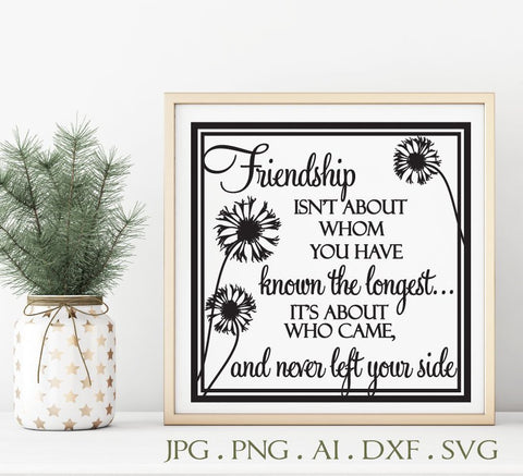 Friend Saying Quote Sign to Print, SVG Clipart Vector Sayings, Die Cut DXF Cricut File, Friends Thank You Gift, Printable Card Craft Design - lasting-expressions-vinyl