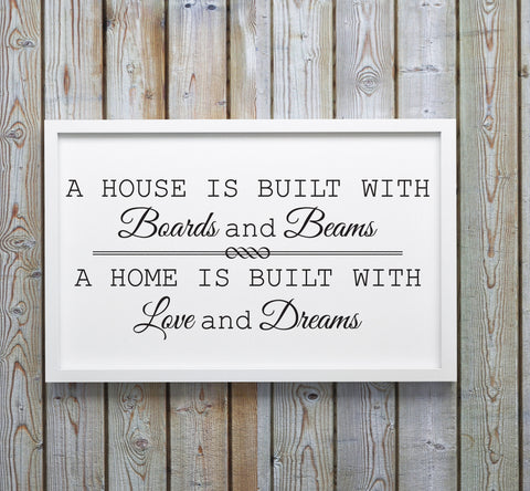 Home Quote SVG Design, House is Built Saying about Home, Silhouette Stencil Craft Saying, Printable Home Wall Decor Sign, DXF Saying FIle - lasting-expressions-vinyl