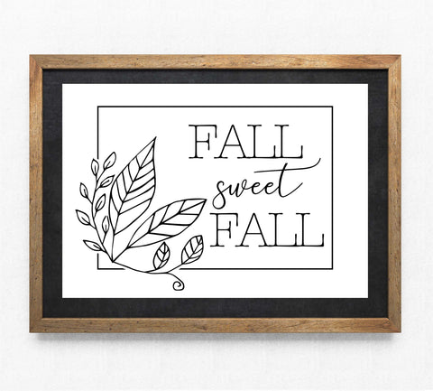 Seasonal Clipart Vector Designs, Vinyl Craft Cut Files DXF, Fall Sweet Fall Leaf Border, Printable Home Decor, Saying to Print, Sign Stencil - lasting-expressions-vinyl