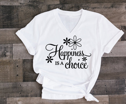 Happiness Quote Unisex Graphic Tee, Custom Saying on Shirt, Inspirational Gift for Friend, Happiness is a choose Quote, Women's Black Tank - lasting-expressions-vinyl