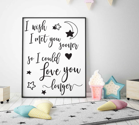 Clipart Vector Quote Design, Met You Sooner Love You Longer, Baby Nursery Printable Artwork Saying, Cricut Vinyl Craft Quote, Die Cut Design - lasting-expressions-vinyl