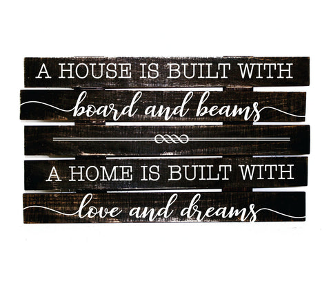 Pallet Sign Housewarming Gift for First Home, House Home Built with Love and Dreams, New Home Gift for Friend Moving Away, Love Pallet Quote - lasting-expressions-vinyl