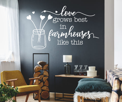 Farmhouse Chic Home Decor Wall Decal Sticker, Vinyl Wall Words Farmhouse Sign, Love Grows Best Houses Like This, Rustic Chic Wall Home Decor - lasting-expressions-vinyl
