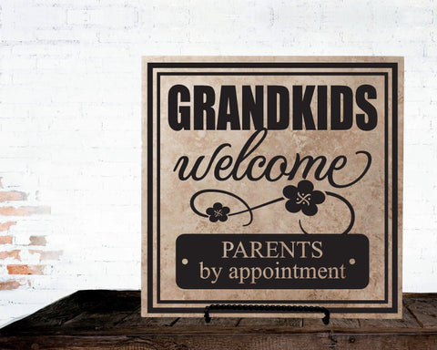 New Grandparents Gift from Grandkids, Baby Announcement Sign for Grandma, Grandchildren Welcome Table Top Plaque, Funny Welcome Sign Grandpa - lasting-expressions-vinyl
