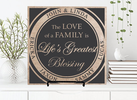 Name Sign Personalized Family Tree, Life Greatest Blessing, Blended Family Wedding Gift, Kid Name Gift for Mom Birthday, Custom Family Sign - lasting-expressions-vinyl