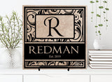 Monogram Wedding Plaque Last Name Sign, Personalized Name Wedding Gift for Couple, Wedding Card Table Centerpiece Decor, Housewarming Gift - lasting-expressions-vinyl
