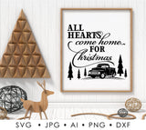 SVG Christmas Quote Vinyl Crafts, DXF Saying Cricut, Christmas Printable Home Decor, Hearts Home for Christmas Quote, Vintage Truck Clipart - lasting-expressions-vinyl