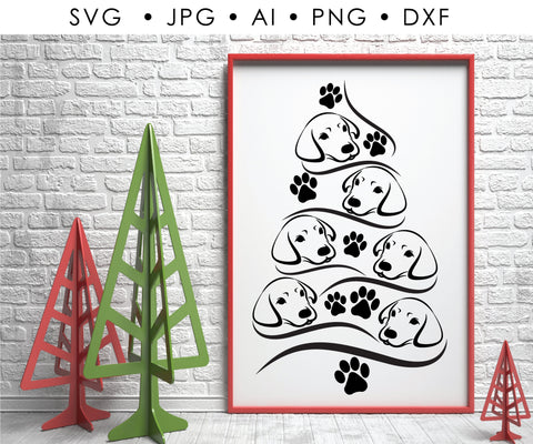 Dog Christmas Tree Clipart, Vector Clipart Christmas Tree, SVG Dog Cricut, Dog Craft Stencil, Paw Print PNG, Printable Holiday Decor Sign - lasting-expressions-vinyl