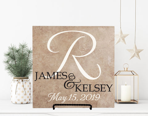 Last Name Monogram Sign for Wedding, Name Ceramic Tile, Wife Anniversary Gift, Framed Custom Hanging Sign, Realtor Client Housewarming Gift - lasting-expressions-vinyl