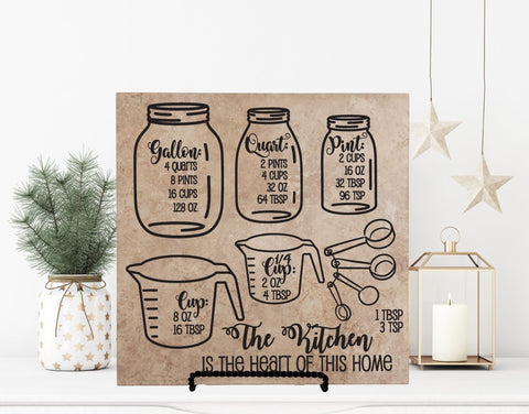 Kitchen Measurements Hanging Wood Sign, Kitchen Baking Cheat Sheet, Mason Jar Kitchen Decor, Grandma Birthday Gift, Cooking Gift for Her - lasting-expressions-vinyl