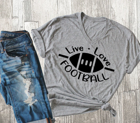 Live Love Football Graphic Tshirt, Women's Football Vneck Shirt, Football Mom Hoodie, Racerback Football Quote Tank, Unisex Football Hoodie - lasting-expressions-vinyl