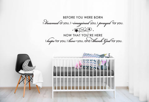 Nursery Large Wall Art, Before You Were Born Saying for Wall, Large Wall Decal for Girl Nursery, Baby Quote Wall Sticker, Vinyl Wall Decal - lasting-expressions-vinyl