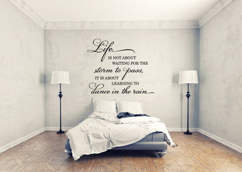Life waiting for the storm to pass learning to dance in the rain, Life Quote Wall Art Stencil, Motivational Saying for Wall, Bedroom Decor - lasting-expressions-vinyl