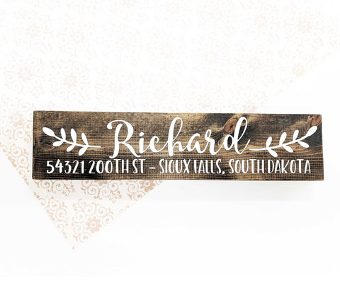 Wood Address Sign with Name - lasting-expressions-vinyl