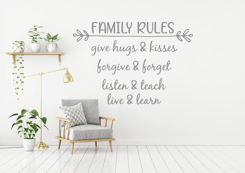Family Rules Stencil Quote - lasting-expressions-vinyl