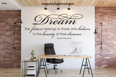 Roosevelt Wall Quote Vinyl Decal, Wall Stencil Lettering, Dream Saying for Wall Decor, Vinyl Stencil Quote Crafts, Motivational Office Sign - lasting-expressions-vinyl