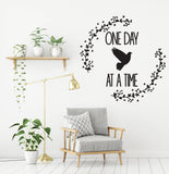 One Day at a Time Wall Quote Stencil, Inspirational Saying for Wall Decor, Vinyl Wall Decal Quote, Boho Chic Bedroom Wall Art, AA Quote Sign - lasting-expressions-vinyl