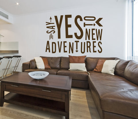 Adventure Vinyl Wall Quote, Yes to New Adventures Sticker Stencil, Bedroom Wall Art Lettering, Window Decal Custom Design, Kid Bedroom Decor - lasting-expressions-vinyl