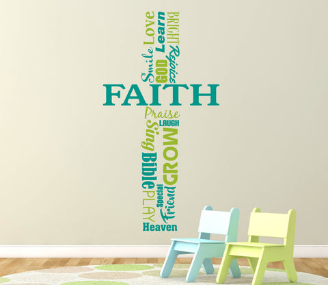 Cross Vinyl Wall Art, Extra Large Wall Art, Vinyl Wall Decor Cross, Sunday School Classroom Decor, Faith Wall Words, Christian Home Decor - lasting-expressions-vinyl