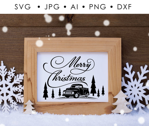 SVG Christmas Quote Vinyl Crafts, DXF Saying Cricut, Christmas Printable Home Decor, Merry Christmas Printable Card, Vintage Truck Clipart - lasting-expressions-vinyl