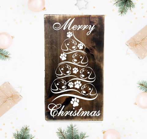 Wood Christmas Tree Hanging Sign - Dog // Puppy - lasting-expressions-vinyl