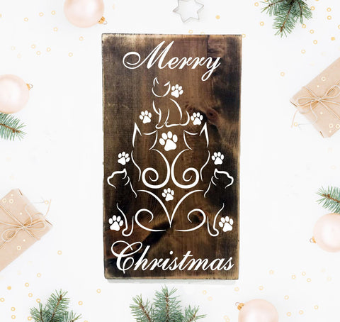 Cat Christmas Decorations, Cat Christmas Tree Wood Hanging Sign - lasting-expressions-vinyl