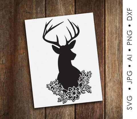 Floral SVG Deer Antler Silhouette, SVG Clipart Floral Design, Flower Woodland Animal Clipart, Baby Girl Nursery Printable Art, Deer Flower - lasting-expressions-vinyl