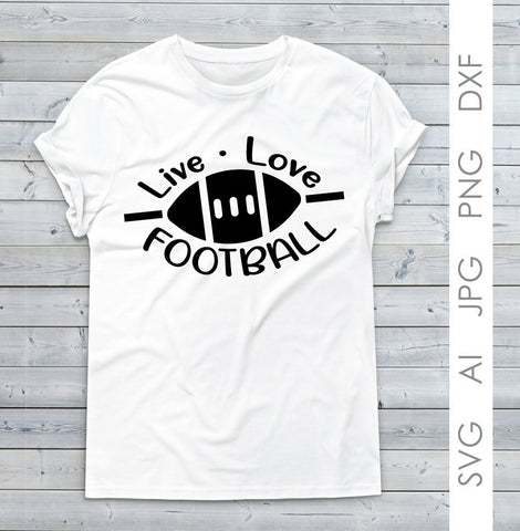 Football Clipart Quote SVG, Live Love Football Women's Shirt Design, DXF Cricut Vinyl Design, Saying to Print, Football Clipart DXF Cricut - lasting-expressions-vinyl