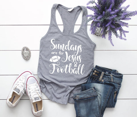 Sundays are for Jesus and Football Tshirt, Women's Football Vneck Shirt, Football Mom Unisex Hoodie, Girls Racerback Tank Football Saying - lasting-expressions-vinyl