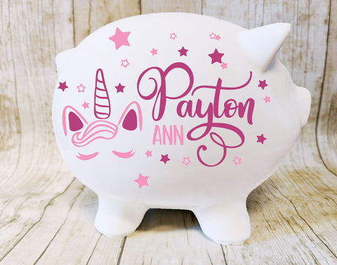 Unicorn Piggy Bank for Girls - lasting-expressions-vinyl
