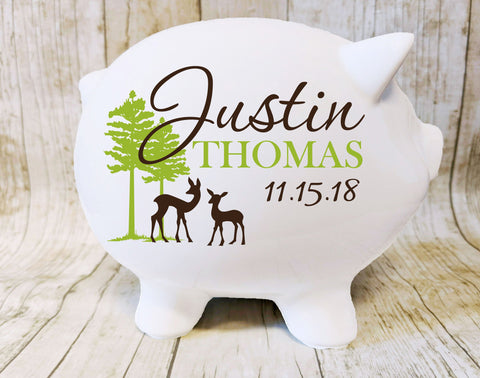 Piggy Bank with Name, Custom Boys Piggy Bank Keepsake, Personalized Piggy Bank for Kids, Woodland Nursery Decor, Deer and Trees Piggy Bank - lasting-expressions-vinyl