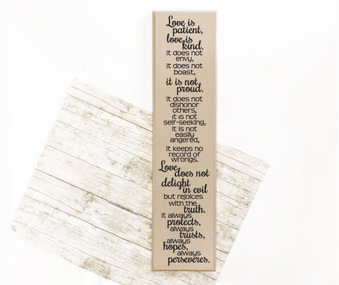 Love is Patient Wood Quote Sign - lasting-expressions-vinyl