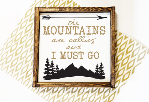 Adventure Arrow Sign, Mountains Are Calling Saying - lasting-expressions-vinyl