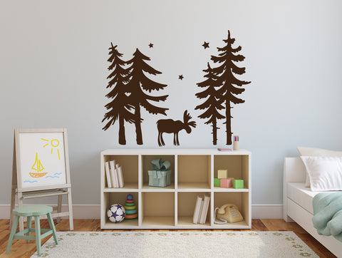 Woodland Nursery Vinyl Wall Decal Trees, Forest Nursery Wall Decor Sticker, Boys Bedroom Moose Forest, Forest Animals Tree Scene Wall Art - lasting-expressions-vinyl
