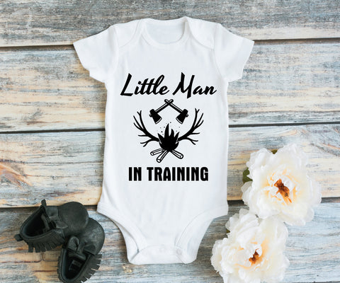 Baby Boy Man in Training Quote Kid Shirt, Hunting Baby Bodysuit, Birthday Baby Outfit, Deer Hunting Shirt, Baby One Piece with Deer Design - lasting-expressions-vinyl