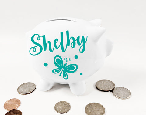 Butterfly Mini Piggy Bank with Name, Children Keepsake Trinket - lasting-expressions-vinyl