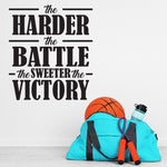 Wall Decor Stencil Quote, Harder the Battle Sweeter Victory - lasting-expressions-vinyl