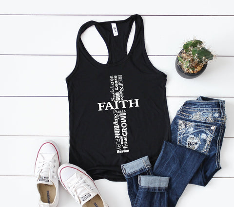 Faith Cross Shirt, Women's Faith Tshirt, Cross Graphic Tee, Sunday School Teacher Gift, Dauhter Birthday Gift, First Communion Girls Gift - lasting-expressions-vinyl
