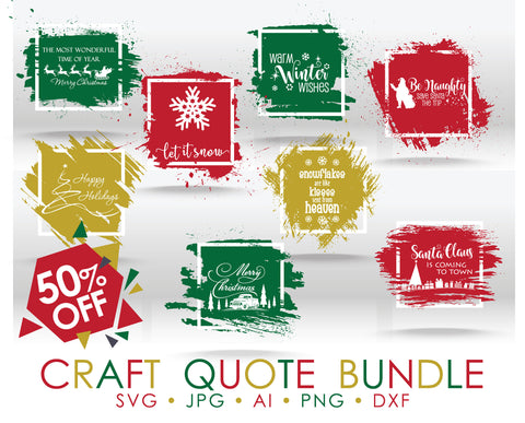 Christmas SVG Bundle, Cricut Christmas Clipart Quote, DXF Laser Cutting File, Christmas Silhouette Vector Clipart, Hand Lettered Font Design - lasting-expressions-vinyl