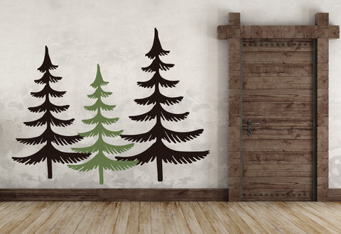 Large Tree Wall Sticker, Pine Tree Wall Art, Christmas Home Decoration, Rustic Chic Home Decor, Forest Nursery Wall Decor, Living room Decal - lasting-expressions-vinyl
