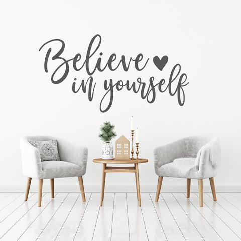 Large Wall Words Decal, Believe In Yourself Saying for Wall, Inspiration Bedroom Wall Art, Vinyl Wall Decal Home Decor, Living Room Wall Art - lasting-expressions-vinyl