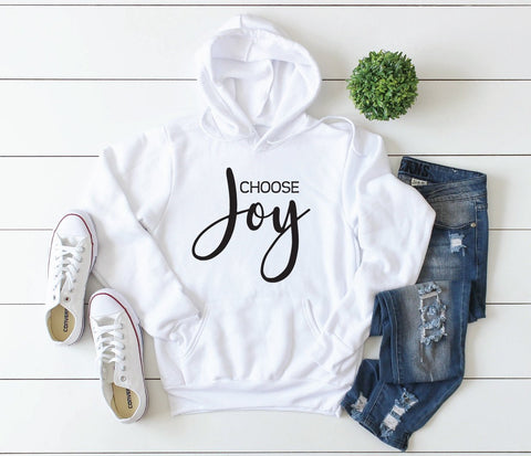 Graphic Tee Choose Joy, Women's Tank Top, Men's Hoodie Saying, Soft Cotton Shirt with Design, Pick Me Up Gift for Friend, Cute Baggy Hoodie - lasting-expressions-vinyl