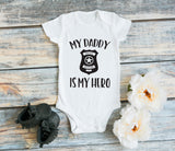 Dad Hero Kids Shirt, My Dad's My Hero Baby Bodysuit, Dad Birthday Baby Outfit, Cop Baby Shirt, Dad Birthday, Cop Father Gift, Baby One Piece - lasting-expressions-vinyl