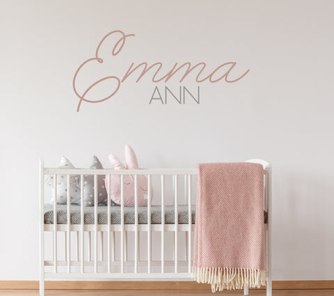 Name Wall Decal Art, Custom Name Nursery Wall Art, Vinyl Wall Decal Cursive Name, Handwritten Name for Wall, Kids Name Nursery Wall Sticker - lasting-expressions-vinyl