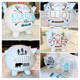 Piggy Bank with Name, Custom Forest Animal Gift for Baby boy, Baby shower decor, kid first birthday, white ceramic bank - lasting-expressions-vinyl