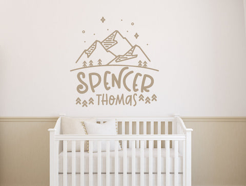 Adventure Name Wall Decal, Baby Nursery Custom Wall Sticker, Baby Boy Name Wall Decal, Mountain Nursery Wall Art, Personalized Baby Gift - lasting-expressions-vinyl